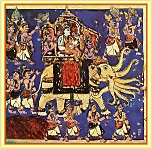 Indra marches against the Asuras